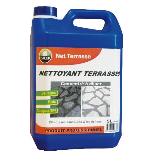 DALEP NET TERRASSE Nettoyant terrasses (5L) Nettoyant terrasses puissant qui dissout les salissures, les traces depollution, graisses, lichens, champignons… Économique et performant.