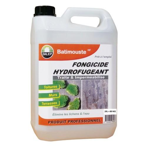 BATIMOUSTE HF est un fongicide hydrofugeant prêt à l'emploi qui permet de traiter et d'imperméabiliser en une seule opération. Il détruit durablement algues, lichens, champignons et empêche l'eau de pénétrer dans les matériaux.