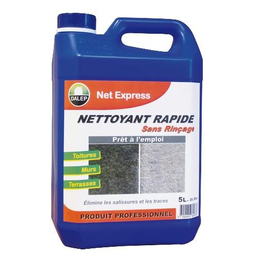 DALEP NET EXPRESS Nettoyant rapide sans rinçage (20L) est un nettoyant, rénovateur, désincrustant à actionrapide sans rinçage. Il élimine les salissures et les traces de pollution.Pour toitures, murs, terrasses… Prêt à l'emploi.