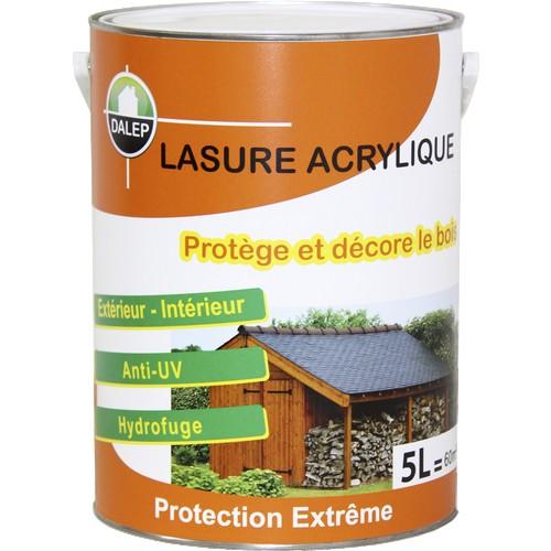 Lasure Acrylique Protection Extrême (5L) Protège et décore les bois neufs et anciens. Imperméabilise le boiset le protège contre les rayons UV du soleil.Qualité Professionnelle