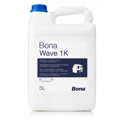 Vitrificateur Bona Wave 1K Satiné (5L) Vitrificateur destiné à la protection de parquets résidentiels et parquets soumis à untrafic normal.