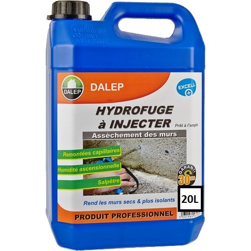DALEP HYDROFUGE à INJECTER (20L) Propriétés Contre les remontées capillaires, l'humidité ascensionnelle, le salpêtre… Produit certifié « Label EXCELL + ». Assèchement des murs
