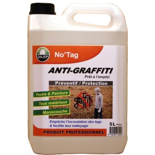 DALEP NO'TAG Protection Anti-Graffiti (5L) Protection contre les graffitis. Préventif: empêche les tags des'incruster dans le support. Facilite leur nettoyage.