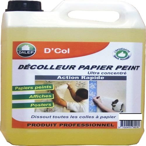DALEP D'COL Décolleur papier peint (5L) pour tous papiers peints, affiches, posters...Ultra concentré, à diluer.Produit surpuissant Économique Dissout tous types de colles à papier Intérieur / Extérieur Produit pulvérisable : application facile et rapide