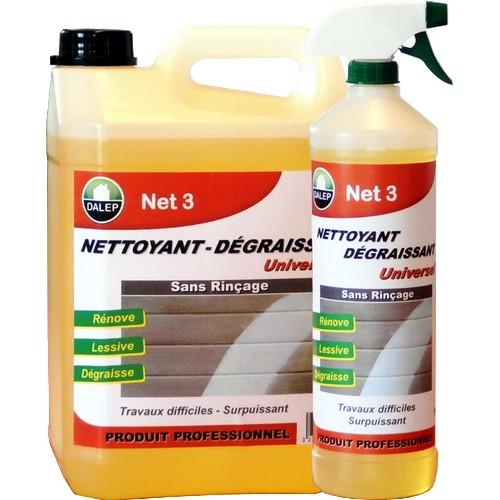 DALEP NET 3 Nettoyant Dégraissant UNIVERSEL (5L) Nettoyant dégraissant surpuissant pour travaux difficiles.Du sol au plafond Idéal pour le nettoyage avant remise en peinture.