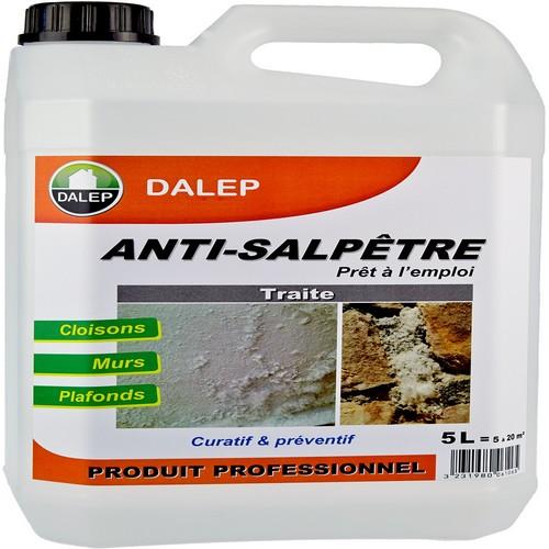 DALEP Anti-Salpêtre (5L) élimine le salpêtre et les moisissures. Préventif et curatif; Intérieur et extérieur; Laisse respirer le support; Tous matériaux
