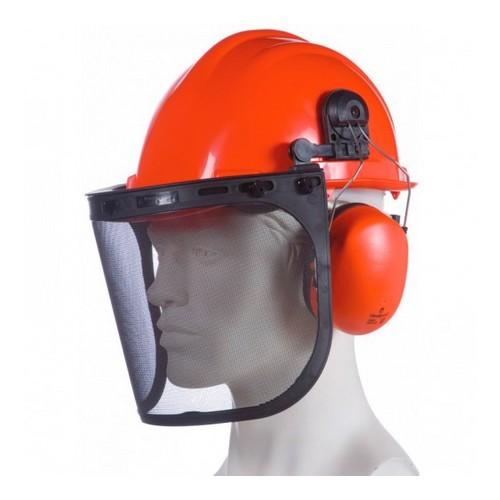 Casque forestier complet : Kit forestier constitué d'un casque avec bandeau anti-sueur, une coiffe textile et une mousse confort. Un casque anti-bruit et une visière grillagée.
