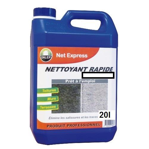 DALEP NET EXPRESS Nettoyant rapide (20L) est un nettoyant, rénovateur, désincrustant à action rapide. Il élimine les salissures et les traces de pollution.Pour toitures, murs, terrasses… Prêt à l'emploi.