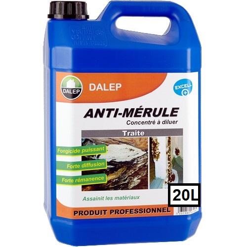 DALEP ANTI-MÉRULE Fongicide (20L) Traitement fongicide contre la mérule. Produit à forte diffusion, effet rémanent.sur tous matériaux. Concentré à diluer.
