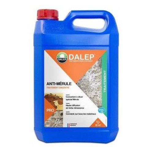 DALEP ANTI-MÉRULE Fongicide (5L) Traitement fongicide contre la mérule. Produit à forte diffusion, effet rémanent. Convient sur tous matériaux. Concentré à diluer. Produit certifié «Label Excell + ».
