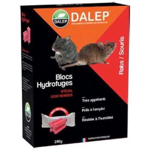 DALEP Bloc hydrofuge rats/souris Raticide - Souricide à base de céréales, prêts à l'emploi.Très résistant.Idéal pour les lieux humides et les extérieurs.
