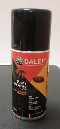 DALEP Puces Punaises One Shot Aérosol 150 mL aérosol insecticide larves, adultes qui élimine puces, punaises et acariens y compris le sarcopte de la gale.