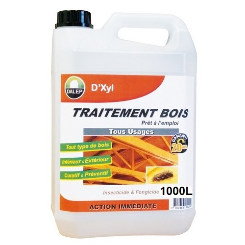 DALEP Traitement Bois Tous Usages D'XYL (1000L) est un produit « prêt à l'emploi » insecticide, fongicide et antitermites, pour le traitement préventif et curatif par pulvérisation et/ou injection des bois de construction