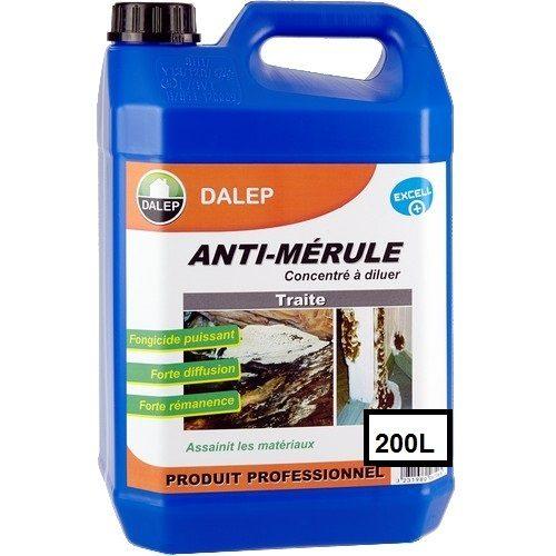 DALEP ANTI-MÉRULE Fongicide (200L) Traitement fongicide contre la mérule. Produit à forte diffusion, effet rémanent.sur tous matériaux. Concentré à diluer.
